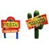 Polystone Mini Fiesta Welcome Signs (2 pc set) U03-0601232-0392- 2 pc set of mini Fiesta style Welcome Signs. Garden décor.
