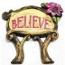 Polystone Mini Fairytale Believe Sign U03-0601232-0590-a single mini fairy style sign. Garden décor.