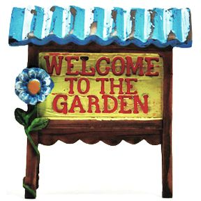 Polystone Mini Country Welcome Sign U03-0601232-0890-a single mini country sign. Garden décor.