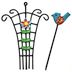 Iron Mini Country Bird & Flower Trellis (2 pc set) U03-0604232-0092-2 pc set of mini trellis and a bird on a stake. Garden décor.