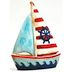 Polystone Mini Seaside Sail Boat U03-0901232-0090-a single mini sail boat. Garden décor.