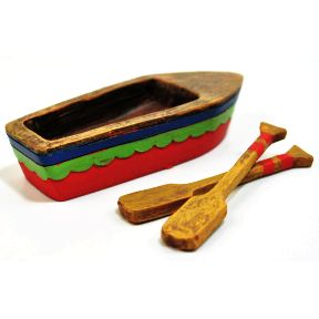 Polystone Mini Lakeside Row Boat & Oars (3 pc set) U03-0901232-0193-a 3 piece miniature set. Row Boat and 2 Oars. Garden decor.