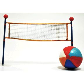 Polystone Mini Seaside Volleyball Net and Ball (2 pc set) U03-1111232-0192-2 pc set of mini volleyball and net. Garden décor.