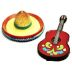 Polystone Mini Fiesta Hat & Guitar (2 pc set) U03-1101232-0192-2 pc set of mini fiesta style hat and guitar. Garden décor.