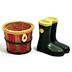 Polystone Mini Country Boot & Barrel, 2 pc set U03-1201232-0292-set of 2 pcs. Mini country boot & barrel. Garden décor.