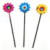 Metal Mini Fiesta Sunflower Stakes (3 pc set) U03-0804232-0093-3 pc set of iron mini fiesta style sunflowers on stakes. Garden décor.