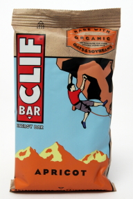 Clif Energy Bar - Apricot V01-0369806-8200 - 2.4 oz individual nutrition bar. All natural. No trans fats. 70% organic ingredients. Made with organic oats and soybeans.