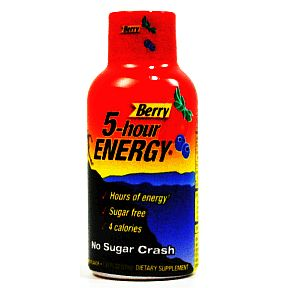 5-hour Energy drink dietary supplement - berry V01-0459503-8200 - 2 fl oz dietary supplement in plastic bottle. Sugar free. Only 4 calories.