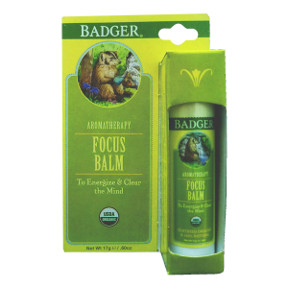 Badger® Focus Balm - Stick V03-0270705-9100-0.6 oz. aromatherapy stick. To energize & clear the mind.