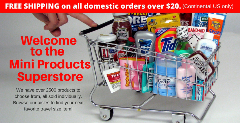 Purchase individual travel sized items and portion control foods with over 2500 items!